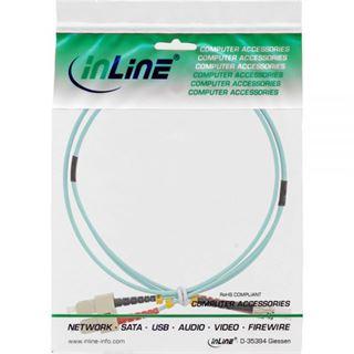(€9,90*/1m) 1.00m InLine LWL Duplex Patchkabel 50/125 µm OM3 SC Stecker auf ST Stecker Türkis