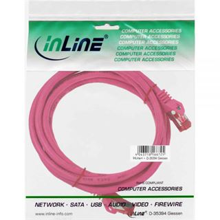 (€2,60*/1m) 1.50m InLine Cat. 6 Patchkabel S/FTP PiMF RJ45 Stecker auf RJ45 Stecker Pink Kupfer / PVC