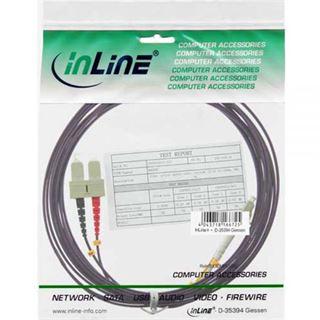 (€8,90*/1m) 1.00m InLine LWL Duplex Patchkabel 50/125 µm OM4 LC Stecker auf SC Stecker Violett