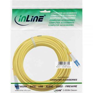 10.00m InLine LWL Duplex Patchkabel 9/125 µm OS2 LC Stecker auf LC Stecker Gelb