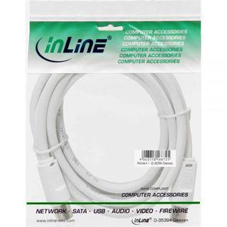 (€0,49*/1m) 10.00m InLine Antenne Anschlusskabel doppelt geschirmt IEC-Stecker auf IEC-Buchse Weiß vernickelt
