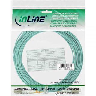 (€0,84*/1m) 25.00m InLine LWL Duplex Patchkabel 50/125 µm OM3 LC Stecker auf LC Stecker Türkis