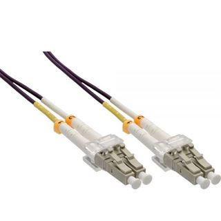 (€1,76*/1m) 25.00m InLine LWL Duplex Patchkabel 50/125 µm OM4 LC Stecker auf LC Stecker Violett