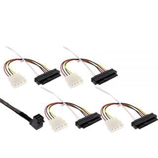 """(€97,80*/1m) 0.50m InLine SAS 6Gb/s Anschlusskabel SFF-8643 Stecker gewinkelt auf SFF-8482 Stecker + 5,25"""" Molex Strom Stecker Schwarz"""
