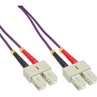 (€8,90*/1m) 1.00m InLine LWL Duplex Patchkabel 50/125 µm OM4 SC Stecker auf SC Stecker Violett