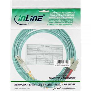 (€1,45*/1m) 7.50m InLine LWL Duplex Patchkabel 50/125 µm OM3 LC Stecker auf SC Stecker Türkis
