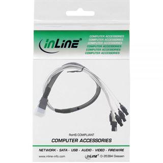 (€75,80*/1m) 0.50m InLine SAS 6Gb/s Anschlusskabel gewinkelt SFF-8643 Stecker auf 4xSATA Stecker Schwarz mit Sideband