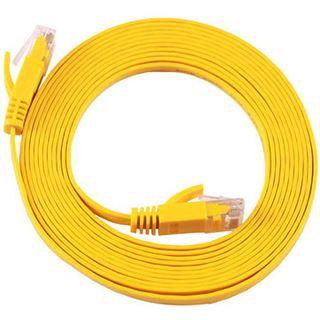 (€7,90*/1m) 1.00m Equip Cat. 6a Patchkabel flach STP RJ45 Stecker auf RJ45 Stecker Gelb