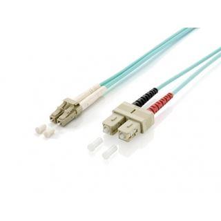 (€1,98*/1m) 5.00m Equip LWL Duplex Patchkabel 50/125 µm OM3 LC Stecker auf SC Stecker Türkis