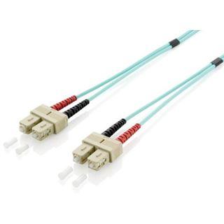 (€2,97*/1m) 3.00m Equip LWL Duplex Patchkabel 50/125 µm OM3 SC Stecker auf SC Stecker Türkis