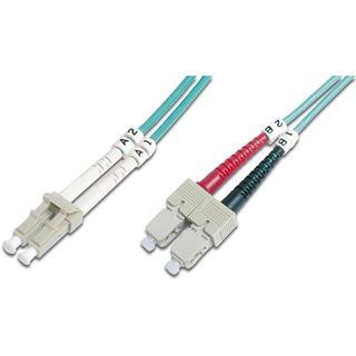 (€1,56*/1m) 7.00m Digitus LWL Duplex Patchkabel 50/125 µm OM3 LC Stecker auf SC Stecker Türkis