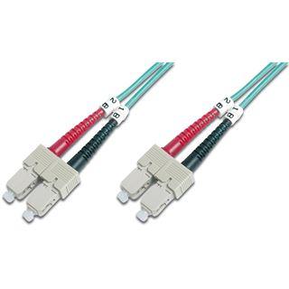 (€1,19*/1m) 10.00m Digitus LWL Duplex Patchkabel 50/125 µm OM3 SC Stecker auf SC Stecker Türkis