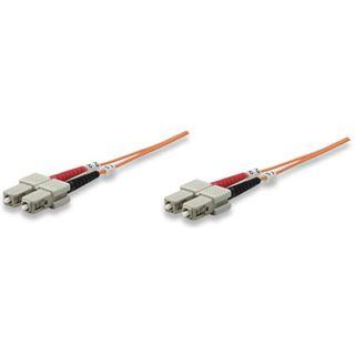 (€7,90*/1m) 1.00m Intellinet LWL Duplex Anschlusskabel 62,5/125 µm OM1 SC Stecker auf SC Stecker Orange