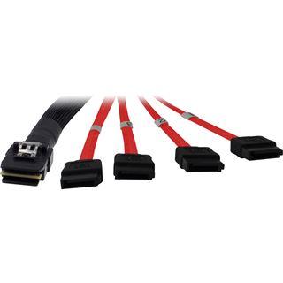 (€18,90*/1m) 1.00m Inter-Tech SATA 6Gb/s Anschlusskabel 4xSATA Stecker auf SFF-8087 Stecker Schwarz/Rot