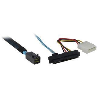 (€45,80*/1m) 0.50m Inter-Tech SAS Adapterkabel SFF-8643 Stecker auf 4xSFF-8482 Schwarz/Rot
