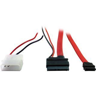 """(€16,33*/1m) 0.30m Inter-Tech SATA Anschlusskabel SATA Stecker + 5,25"""" Molex Strom Stecker auf SATA Slimline Stecker Rot"""