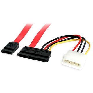 "(€52,67*/1m) 0.15m Startech SATA Anschlusskabel SATA Stecker + 5,25"" Molex Strom Stecker auf SATA Stecker + Strom Rot"