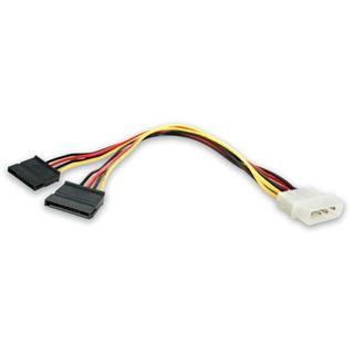 (€23,00*/1m) 0.30m Startech SATA Y-Stromadapterkabel Molex-Stecker auf 2xSATA Strom Stecker Schwarz