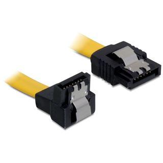 (€7,80*/1m) 0.50m Delock SATA 6Gb/s Anschlusskabel gewinkelt unten SATA Stecker auf SATA Stecker Gelb Metall