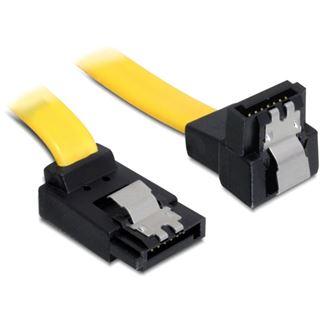 (€5,57*/1m) 0.70m Delock SATA 6Gb/s Anschlusskabel gewinkelt unten SATA Stecker auf SATA Stecker Gelb Metall
