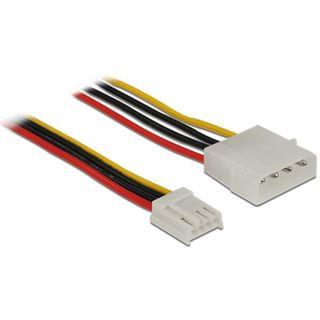 0.60m Delock Stromkabel Adapterkabel 4pol Stecker Floppy auf Molex-Buchse Schwarz/Rot/Gelb