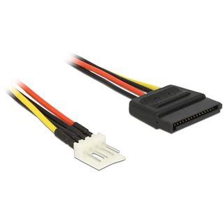 (€15,60*/1m) 0.25m Delock Stromkabel Adapterkabel 4pol Stecker Floppy auf SATA Strom Stecker Schwarz/Rot/Gelb