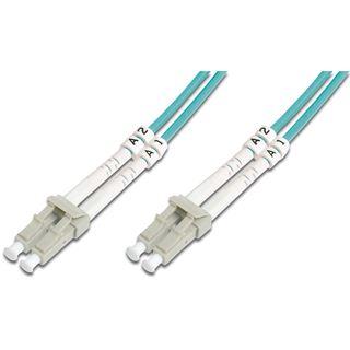 (€7,90*/1m) 1.00m Digitus LWL Duplex Patchkabel 50/125 µm OM3 LC Stecker auf LC Stecker Türkis
