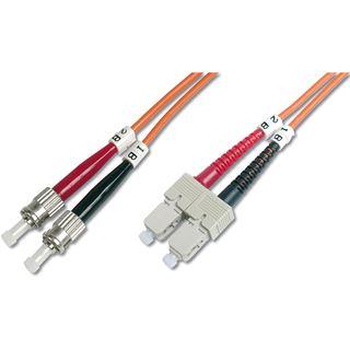 (€3,95*/1m) 2.00m Digitus LWL Duplex Patchkabel 50/125 µm OM2 ST Stecker auf SC Stecker Orange