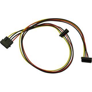 (€6,00*/1m) 0.65m Inter-Tech SATA Adapterkabel gewinkelt unten Molex-Stecker auf 2xSATA Strom Stecker Schwarz