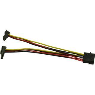 (€26,00*/1m) 0.15m Inter-Tech SATA Stromadapterkabel gewinkelt oben Molex-Stecker auf 2xSATA Strom Stecker Schwarz