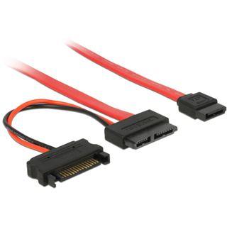 0.70m Delock SATA Anschlusskabel SATA Stecker + Strom auf SATA Slimline Stecker Rot