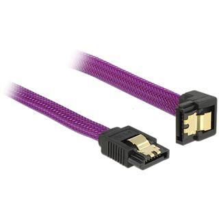 (€16,33*/1m) 0.30m Delock SATA 6Gb/s Anschlusskabel gewinkelt links SATA Stecker auf SATA Stecker Violett Premium