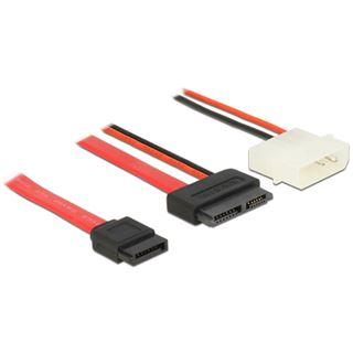"""1.00m Delock SATA Anschlusskabel SATA Stecker + 5,25"""" Molex Strom Stecker auf SATA Slimline Stecker Rot"""