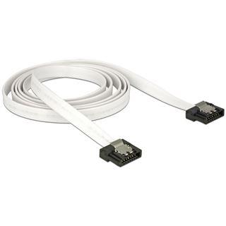 (€6,90*/1m) 1.00m Delock SATA Anschlusskabel Flexi SATA Stecker auf SATA Stecker Weiß Metall