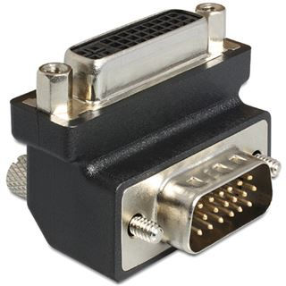 Delock DVI-D Adapter DVI 24+5 Buchse auf VGA 15pol Stecker Schwarz 90° gewinkelt / schraubbar