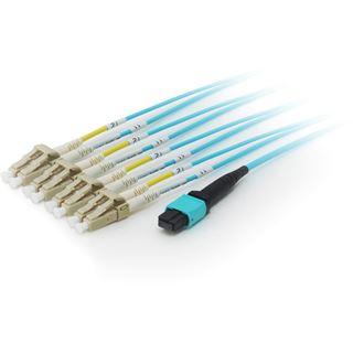 15.00m Equip LWL Single-Mode Patchkabel 50/125 µm OM4 MTP LC Buchse auf 8x LC Stecker Blau