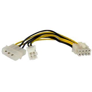 (€46,00*/1m) 0.15m Startech Stromkabel Adapterkabel Molex Stecker + 4pol P4 Buchse auf 8pol EPS Stecker Schwarz/Gelb