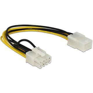 (€19,50*/1m) 0.20m Delock PCI Express Stromadapterkabel 6pol PCIe Buchse auf 8pol PCIe Stecker Schwarz/Gelb