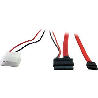 """(€13,17*/1m) 0.60m Inter-Tech SATA Anschlusskabel SATA Stecker + 5,25"""" Molex Strom Stecker auf SATA Slimline Stecker Rot"""