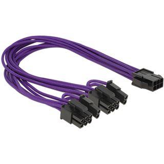 (€23,00*/1m) 0.30m Delock PCI Express Y-Stromadapterkabel 6,5mm 6pol PCIe Buchse auf 2x6+2 PCIe Stecker Violett