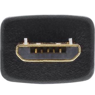 3.00m InLine USB2.0 Anschlusskabel USB A Stecker auf USB mikroB Stecker Schwarz Spiral