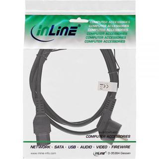 (€6,90*/1m) 1.00m InLine Warmgeräte Anschlusskabel gewinkelt Schutzkontakt Stecker auf C15 Stecker Schwarz Schutzkontakt