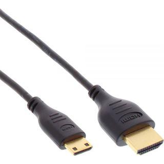 (€5,50*/1m) 1.80m InLine HDMI2.0 Anschlusskabel High-Speed mit Ethernet Mini HDMI Stecker auf HDMI-Stecker Schwarz Superslim / vergoldet