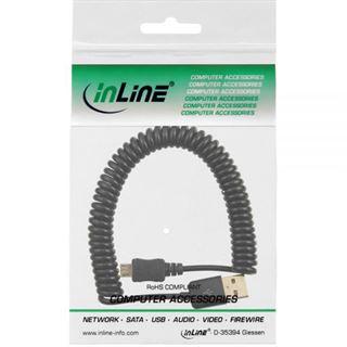 (€7,90*/1m) 1.00m InLine USB2.0 Anschlusskabel USB A Stecker auf USB mikroB Stecker Schwarz Spiral