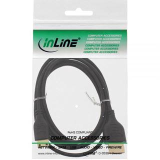 (€5,93*/1m) 1.50m InLine HDMI2.0 Anschlusskabel High-Speed mit Ethernet Mini HDMI Stecker auf HDMI-Stecker Schwarz Superslim / vergoldet