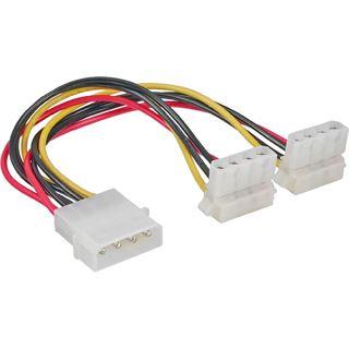 (€32,67*/1m) 0.15m InLine Stromkabel Y-Stromadapterkabel gewinkelt Molex-Stecker auf 2xMolex Buchse Schwarz/Rot/Gelb