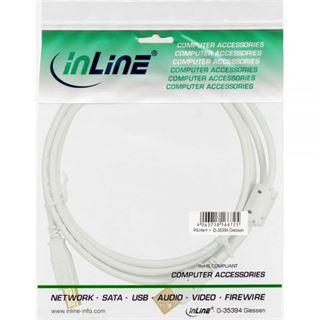 (€4,90*/1m) 1.00m InLine USB2.0 Anschlusskabel USB A Stecker auf USB B Stecker Weiß Ferritkern / vergoldet