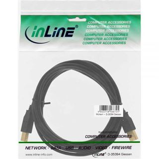 1.80m InLine USB2.0 Anschlusskabel USB A Stecker auf USB B Stecker Schwarz