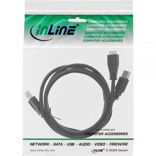 (€3,95*/1m) 2.00m InLine USB3.0 Anschlusskabel USB 3.0 USB A Stecker auf USB mikroB Stecker Schwarz