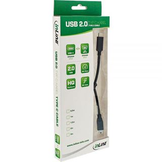 (€2,63*/1m) 3.00m InLine USB2.0 Anschlusskabel USB C Stecker auf USB miniB Stecker Schwarz